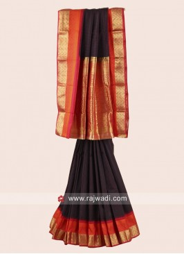 Resham and Zari Weaved Pure Silk Checks Saree