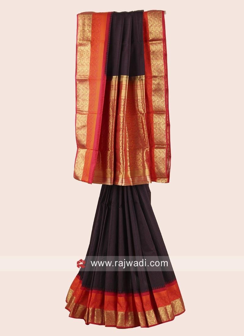 Resham and Zari Weaved Pure Silk Checks Saree