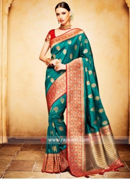Resham and Zari Weaved Saree