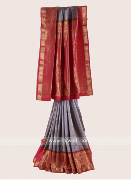 Resham and Zari Weaving Saree