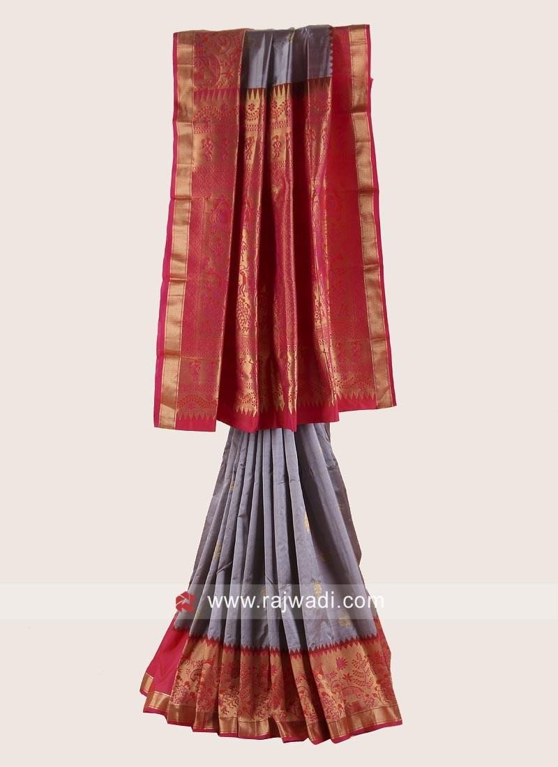 Resham and Zari Weaving Saree