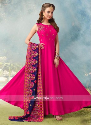 Resham and Zari Work Anarkali Salwar Suit