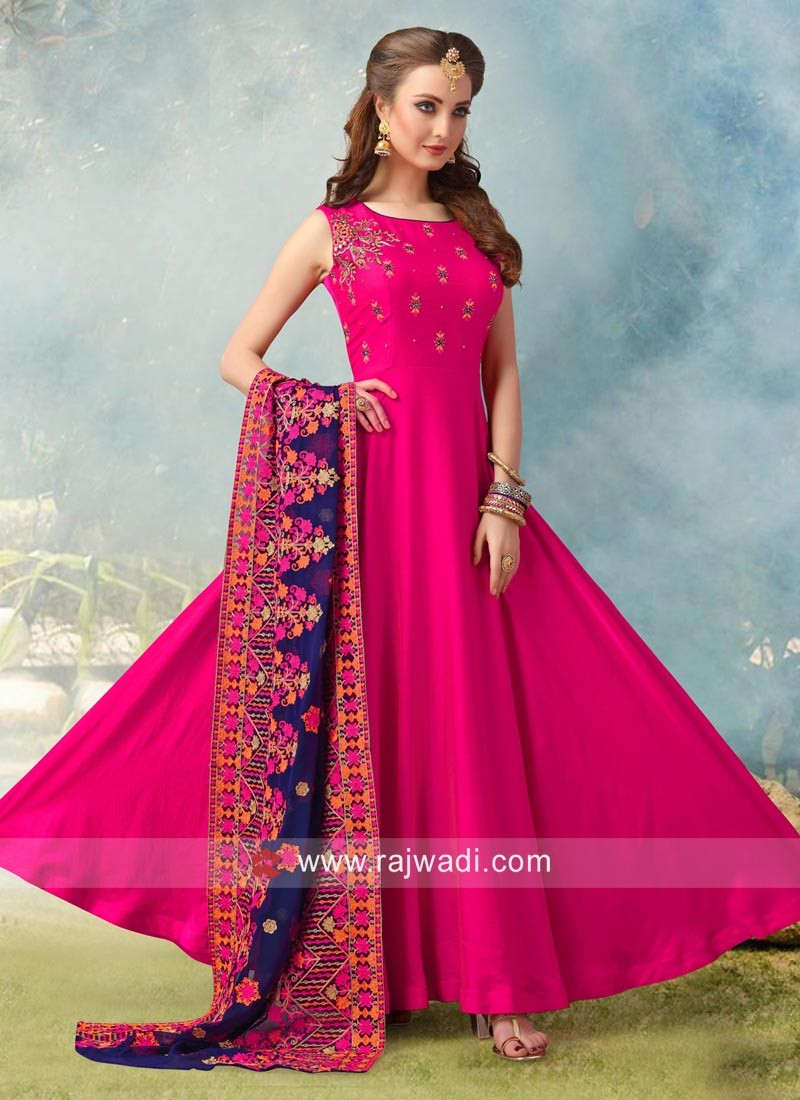 dfbbb2bfcf Resham and Zari Work Anarkali Salwar Suit