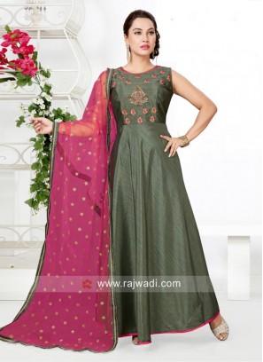 Resham and Zari Work Anarkali Suit