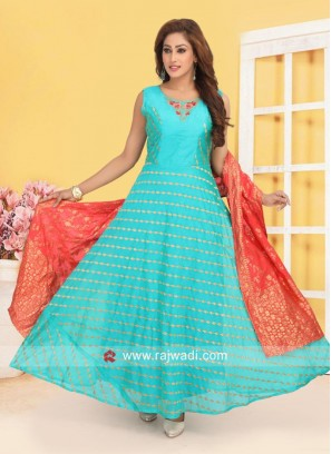 Resham and Zari Work Anarkali Suit