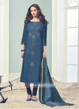 Resham and Zari Work Blue Salwar Suit