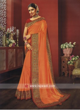 Resham and Zari Work border Work Saree