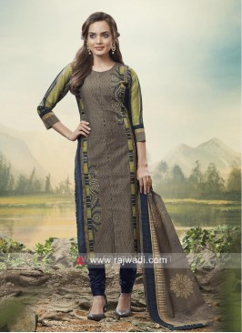 Resham and Zari Work Casual Churidar Suit