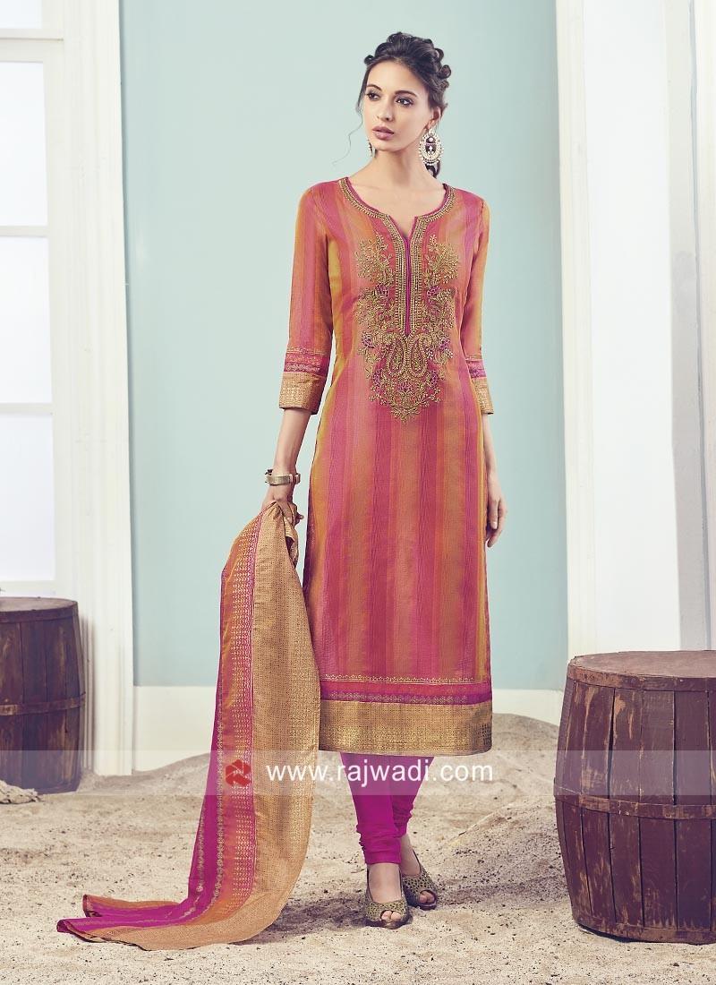 Resham and Zari Work Churidar Suit
