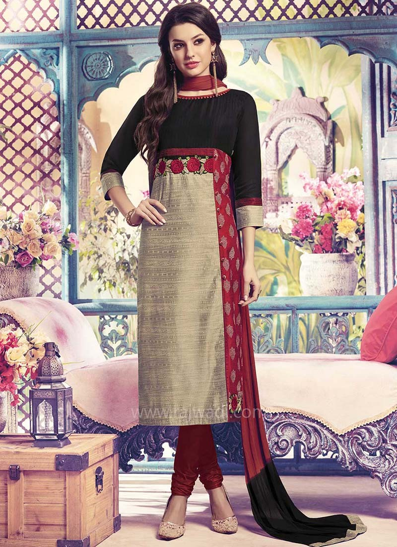 Resham and Zari work Churidar Suit