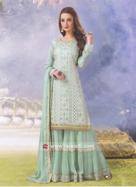 Resham and Zari Work Gharara Suit