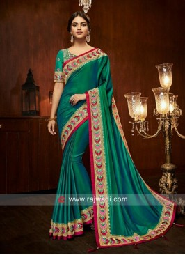Resham and Zari Work Green Saree