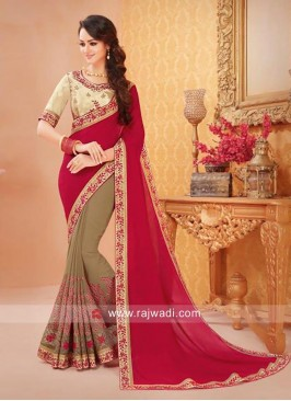 Resham and Zari Work Half Saree