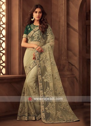 Resham and Zari Work Net Saree