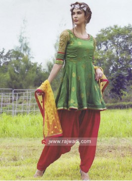 Resham and Zari Work Patiala Suit