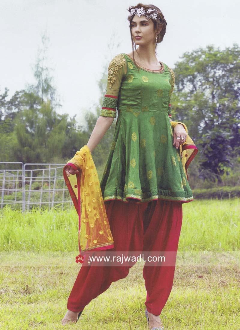 Resham and Zari Work Patiala Suit