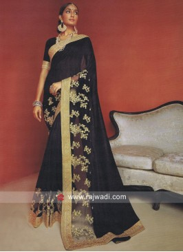 Resham and Zari Work Saree in Black