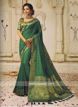 Resham and Zari Work Saree in Green