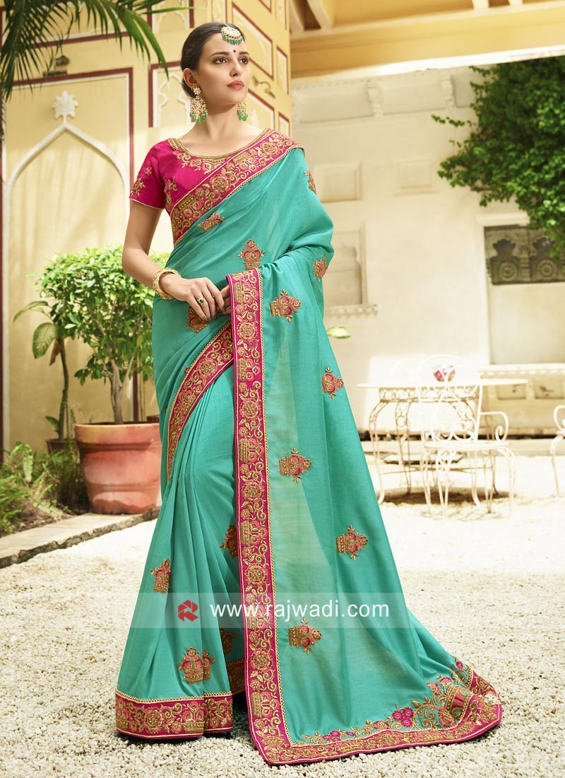 Resham and Zari Work Saree in Sea Green