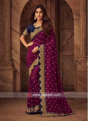Resham and Zari Work Saree with Blouse