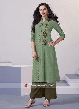 Resham and Zari Work Stitched Palazzo Suit
