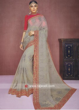 Resham and Zari Work Tissue Silk Saree