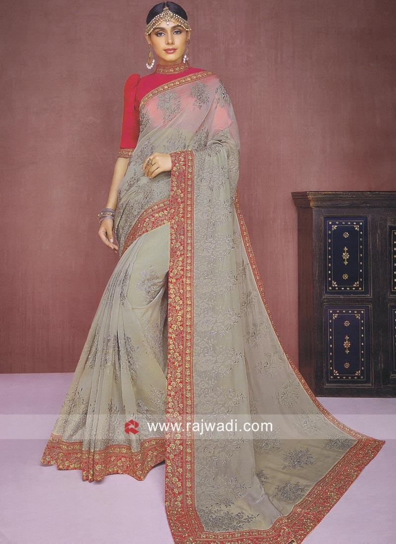 Resham and Zari Work Tissue Silk Saree