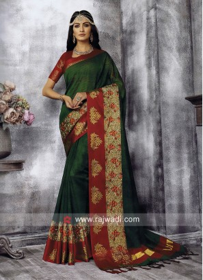 Resham and Zari Work Wedding Saree