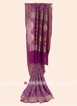 Resham and Zari Woven Bandhani Saree