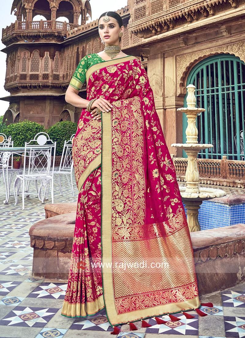 Resham and Zari Woven Heavy Saree