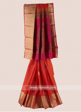 Resham and Zari Woven Saree with Blouse