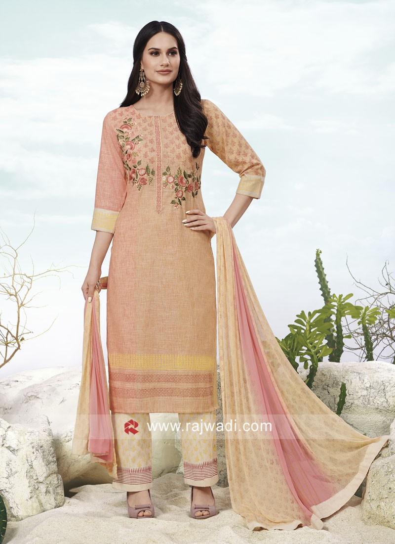 Resham Embroidery Printed Salwar Suit