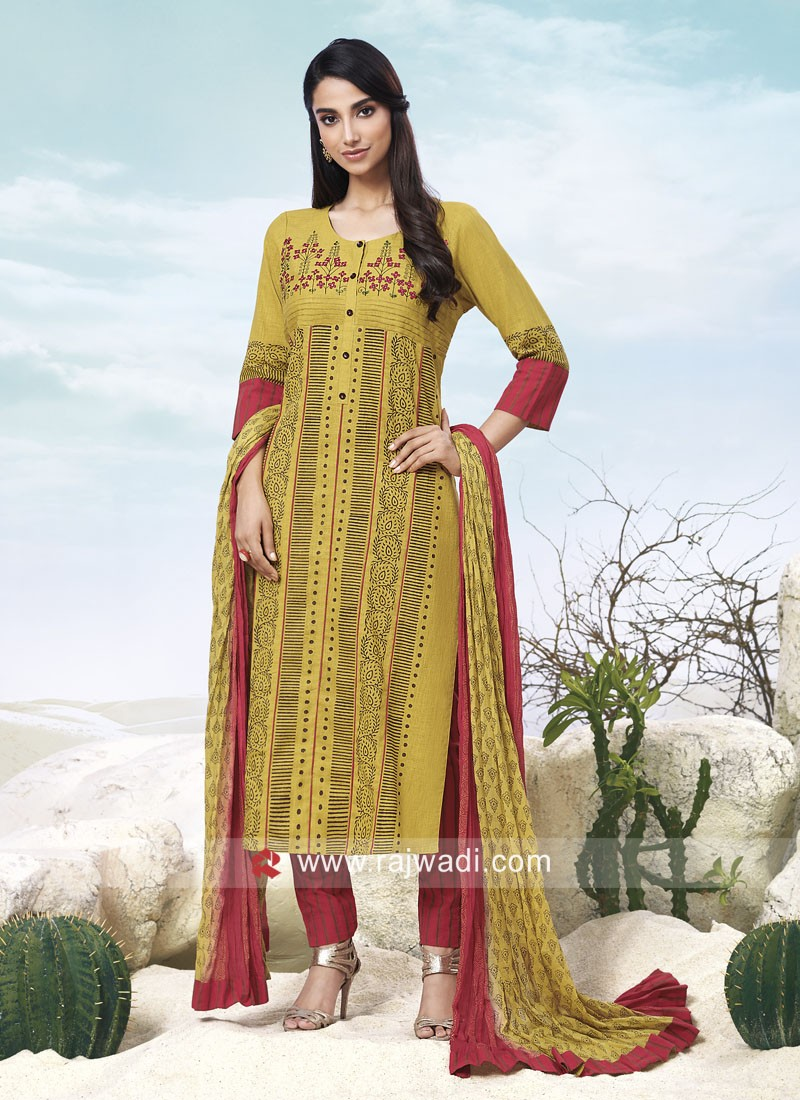 Resham Embroidery Printed Salwar Suit