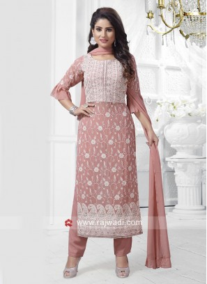 Resham Embroidery Straight Fit Trouser Suit