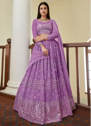 Resham Georgette Bollywood Lehenga Choli in Violet