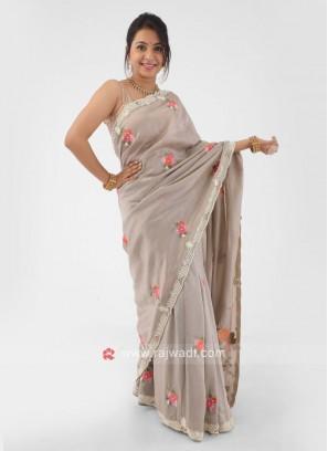 Resham Thread Work Saree In Dark Beige Color