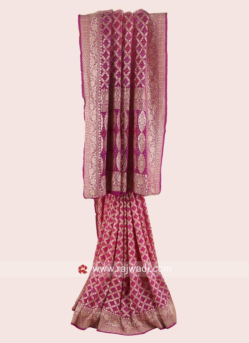 Resham Weaved Bandhani Shaded Saree