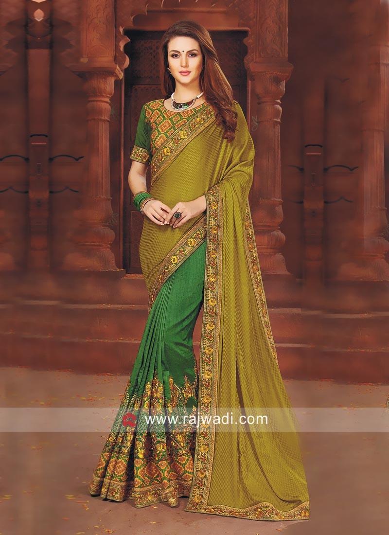 Resham Work Art Silk Half Saree