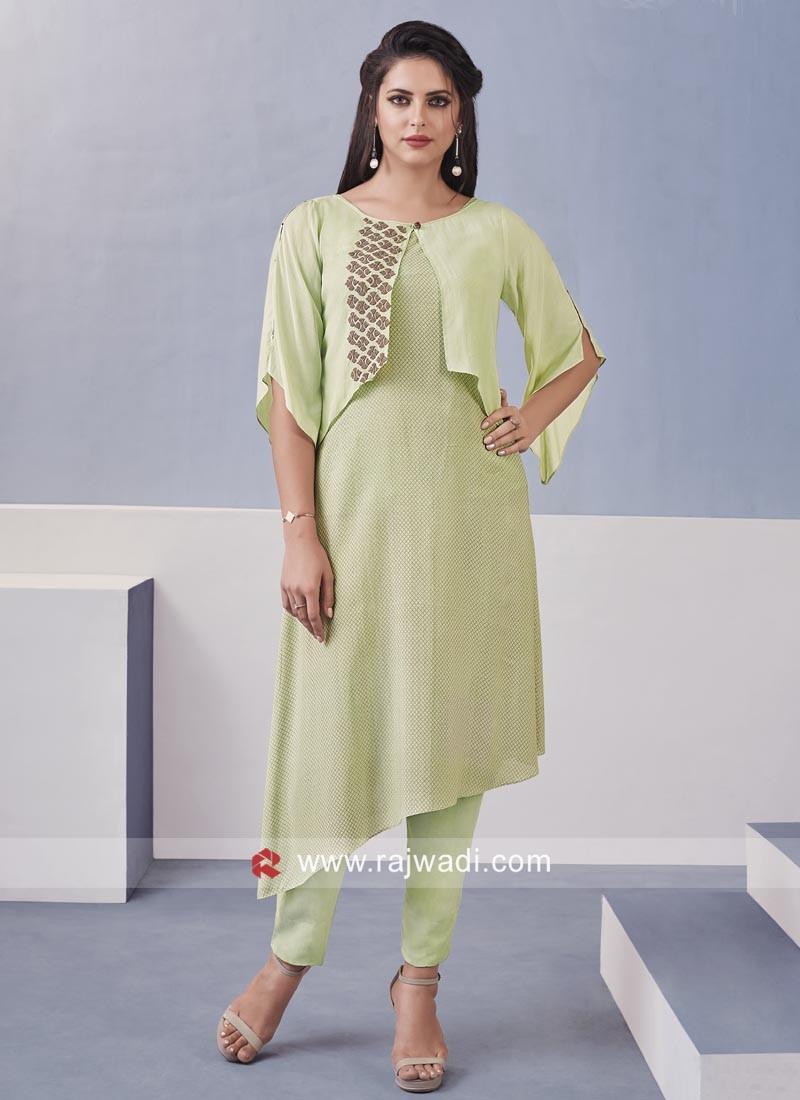 Resham Work Asymmetric Style Salwar Kameez