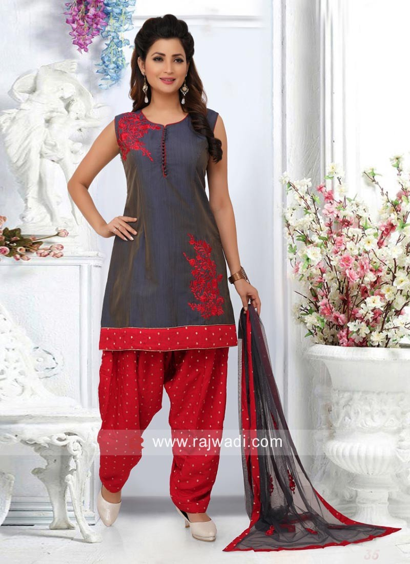 Resham Work Casual Patiala Suit