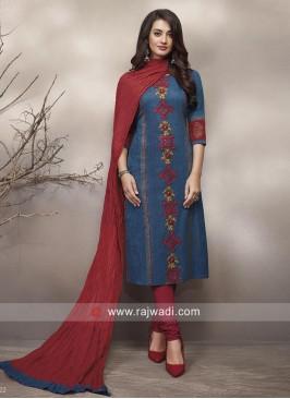 Resham Work Churidar Salwar Kameez