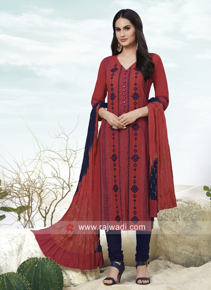 Resham Work Churidar Suit with Dupatta