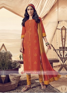 Shagufta Resham Work Cotton Churidar Salwar Suit