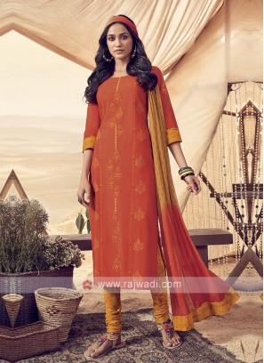 Resham Work Cotton Churidar Suit