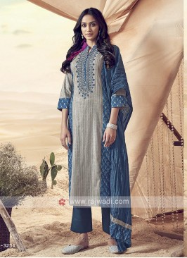 Resham Work Cotton Pant Suit