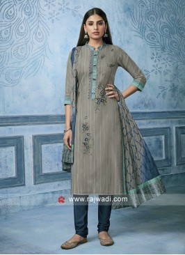 Resham Work Cotton silk Churidar Salwar Suit