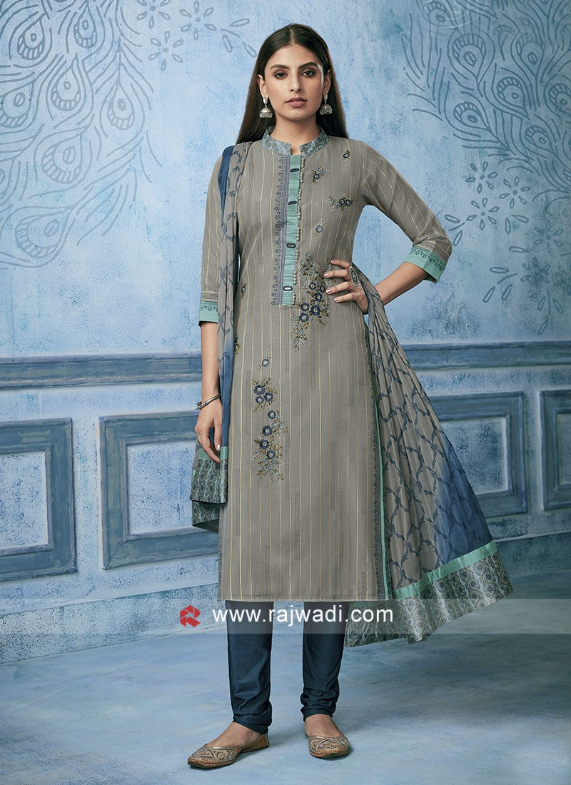 Resham Work Cotton silk Churidar Salwar Suit