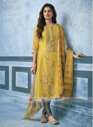 Resham Work Cotton Silk Churidar Suit