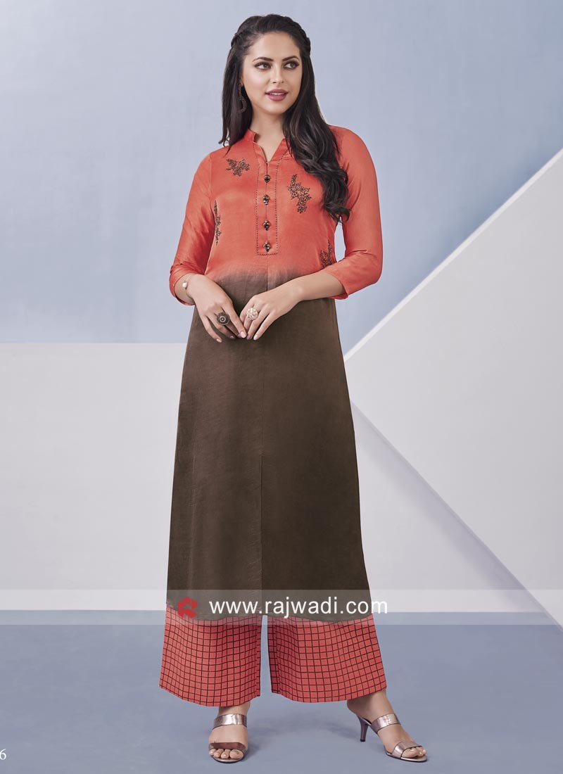 Resham Work Cotton Silk Palazzo Suit