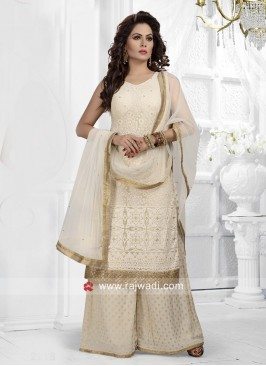 Resham Work Cream Gharara Suit